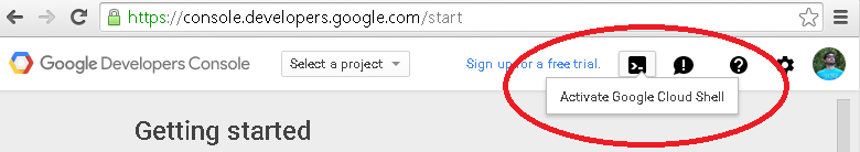Start a new Google Cloud Shell